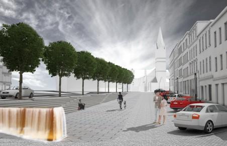 Rekonstrukce Sokolovského náměstí - vizualizace návrhu B. Šonského